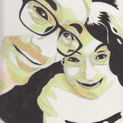 Andrea and Marta portrait, painting by Alessandro Bruno.