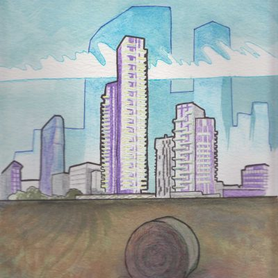 Urbanscape, painting by Alessandro Bruno.