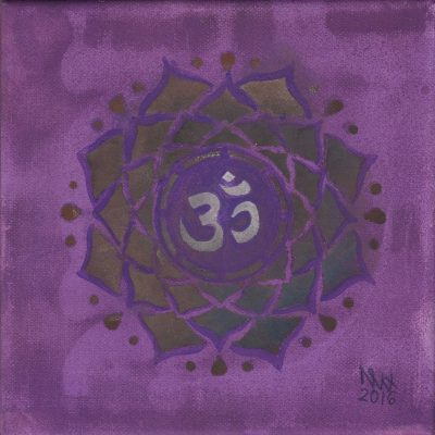 Crown Chakra painting by Alessandro Bruno. 2016, Egg tempera on canvas, 20cm by 20cm.