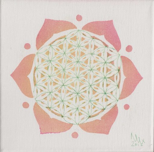 Flower of life painting by Alessandro Bruno. 2016, Egg tempera on canvas, 20cm by 20cm.