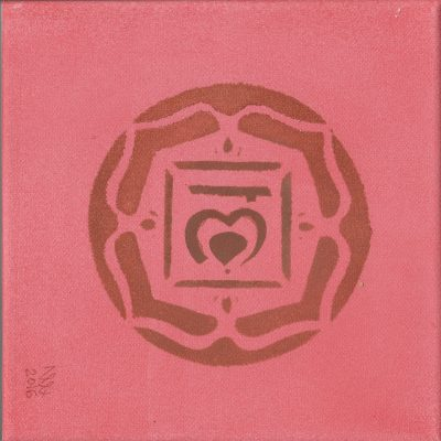 Root Chakra 01 painting by Alessandro Bruno. 2016, Egg tempera on canvas, 20cm by 20cm.