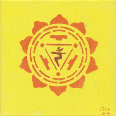Solar Plexus chakra painting by Alessandro Bruno. 2016, Egg tempera on canvas, 20cm by 20cm.