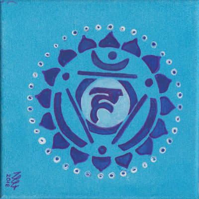 Throat Chakra painting by Alessandro Bruno. 2016, Egg tempera on canvas, 20cm by 20cm.